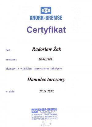 Certyfikat KNORR-BREMSE